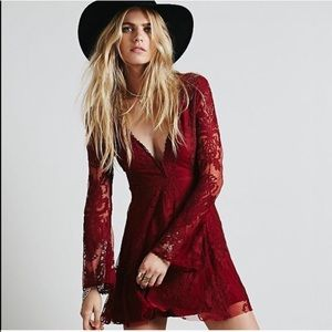 Free People Reign Over Me lace dress in burgundy